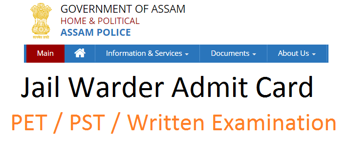 Assam Police jail warder admit card