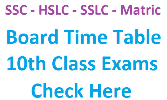 10th class new time table