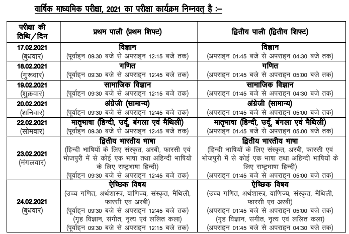 10th bseb time table