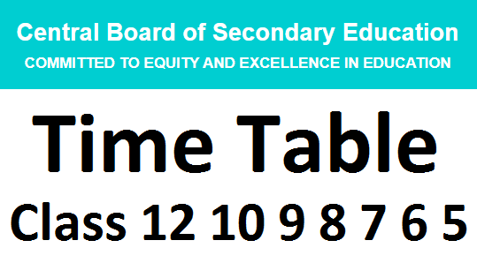 cbse time table