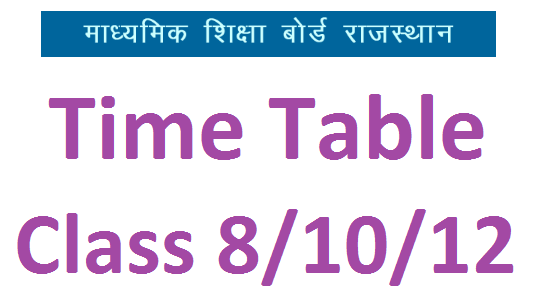 RBSE time table