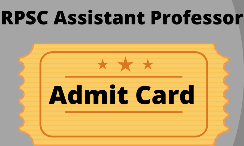 RPSC Assistant Professor Admit Card