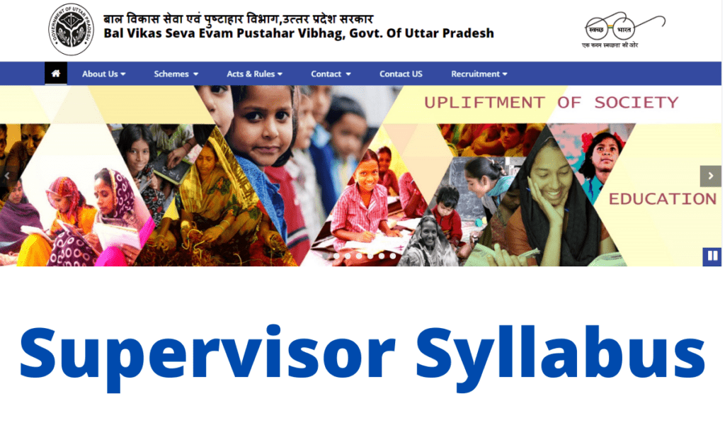 UP Anganwadi Supervisor Syllabus